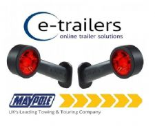 2x LED RED WHITE LENS RUBBER STALK TRAILER LORRY TRACTOR MARKER LAMPS MP8718BL R